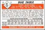1953 Bowman REPRINT #117  Duke Snider  Back Thumbnail