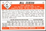 1953 Bowman REPRINT #122  Bill Serena  Back Thumbnail