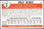 1953 Bowman REPRINT #85  Solly Hemus  Back Thumbnail