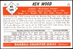1953 Bowman REPRINT #109  Ken Wood  Back Thumbnail
