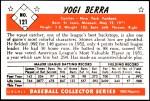 1953 Bowman Reprints #121  Yogi Berra  Back Thumbnail