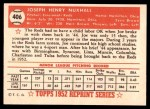 1952 Topps REPRINT #406  Joe Nuxhall  Back Thumbnail