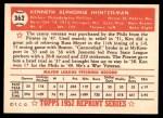 1952 Topps Reprints #362  Ken Heintzelman  Back Thumbnail