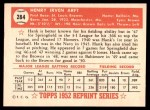 1952 Topps REPRINT #284  Hank Arft  Back Thumbnail