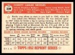 1952 Topps Reprints #239  Rocky Bridges  Back Thumbnail