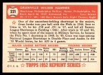 1952 Topps REPRINT #221  Granny Hamner  Back Thumbnail