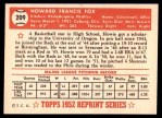 1952 Topps REPRINT #209  Howie Fox  Back Thumbnail
