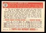 1952 Topps REPRINT #107  Connie Ryan  Back Thumbnail