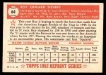 1952 Topps REPRINT #64  Roy Sievers  Back Thumbnail