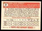 1952 Topps REPRINT #59  Robin Roberts  Back Thumbnail