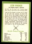 1963 Fleer #21  Leon Wagner  Back Thumbnail