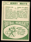 1968 Topps #119  Jerry Mays  Back Thumbnail