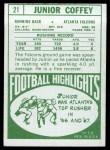 1968 Topps #21  Junior Coffey  Back Thumbnail