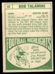 1968 Topps #68  Bob Talamini  Back Thumbnail