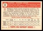 1952 Topps Reprints #33  Warren Spahn  Back Thumbnail