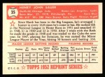 1952 Topps REPRINT #35  Hank Sauer  Back Thumbnail