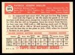 1952 Topps REPRINT #275  Pat Mullin  Back Thumbnail