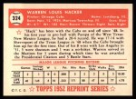 1952 Topps Reprints #324  Warren Hacker  Back Thumbnail