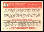 1952 Topps Reprints #115  George Munger  Back Thumbnail