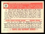 1952 Topps REPRINT #104  Don Kolloway  Back Thumbnail