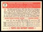 1952 Topps REPRINT #29  Ted Kluszewski  Back Thumbnail