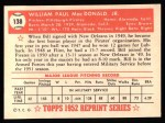 1952 Topps REPRINT #138  Bill MacDonald  Back Thumbnail