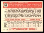 1952 Topps Reprints #260  Pete Castiglione  Back Thumbnail
