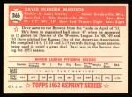 1952 Topps REPRINT #366  Dave Madison  Back Thumbnail