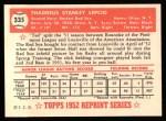 1952 Topps Reprints #335  Ted Lepcio  Back Thumbnail