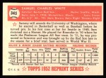 1952 Topps REPRINT #345  Sammy White  Back Thumbnail
