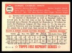 1952 Topps REPRINT #345  Sammy White  Back Thumbnail