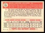 1952 Topps REPRINT #316  Dave Williams  Back Thumbnail