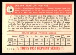 1952 Topps REPRINT #145  Joe Haynes  Back Thumbnail