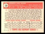 1952 Topps REPRINT #139  Ken Wood  Back Thumbnail