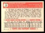 1952 Topps REPRINT #113  Dick Sisler  Back Thumbnail