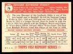 1952 Topps REPRINT #76  Eddie Stanky  Back Thumbnail