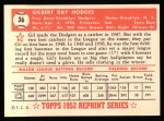 1952 Topps Reprints #36  Gil Hodges  Back Thumbnail