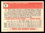 1952 Topps REPRINT #28  Jerry Priddy  Back Thumbnail