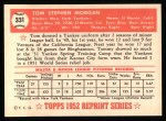 1952 Topps Reprints #331  Tom Morgan  Back Thumbnail