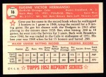 1952 Topps REPRINT #16  Gene Hermanski  Back Thumbnail