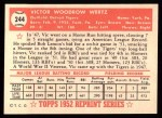 1952 Topps REPRINT #244  Vic Wertz  Back Thumbnail