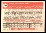 1952 Topps Reprints #244  Vic Wertz  Back Thumbnail