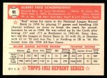 1952 Topps REPRINT #91  Red Schoendienst  Back Thumbnail