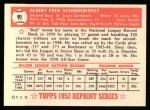 1952 Topps Reprints #91  Red Schoendienst  Back Thumbnail