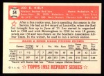 1952 Topps Reprints #54  Leo Kiely  Back Thumbnail