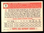 1952 Topps REPRINT #43  Ray Scarborough  Back Thumbnail