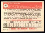 1952 Topps REPRINT #303  Harry Dorish  Back Thumbnail