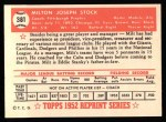 1952 Topps REPRINT #381  Milton Stock  Back Thumbnail