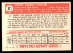 1952 Topps REPRINT #371  Bobby Hofman  Back Thumbnail
