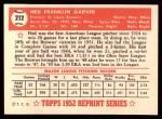 1952 Topps REPRINT #212  Ned Garver  Back Thumbnail
